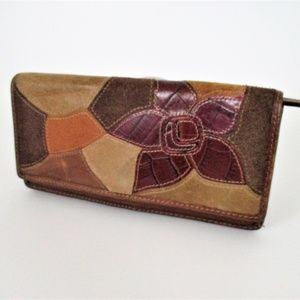 Fossil Leather Long BiFold Wallet Patchwork Floral